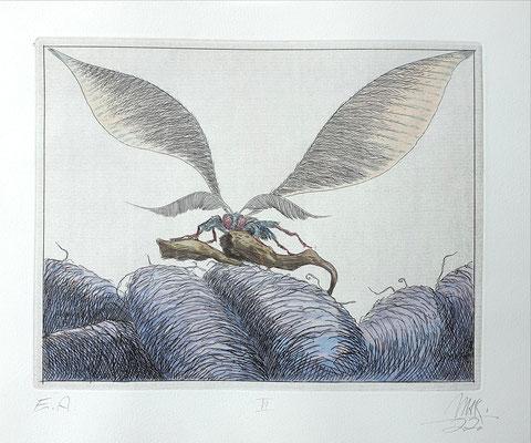 Ulf H. Rickmann, Blatt VI (Insektenserie) Strichätzung koloriert, 20x15cm, 2020 - 300 EUR