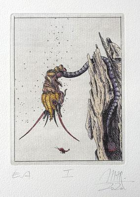 Ulf H. Rickmann, Blatt I (Insektenserie) Strichätzung koloriert, 13x10cm, 2020 - 150 EUR