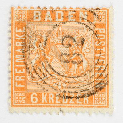 Briefmakre, 6 Kreuzer Baden, Nr. 11, mit Fünfringnummerstempel 82 (Lenzkirch)
