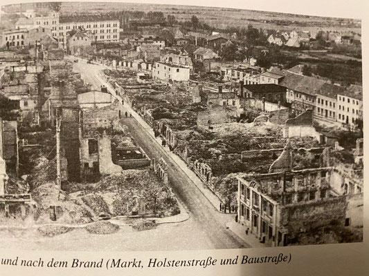 "Demmin after the Russians set it on fire (Picture:Buske, Norbert ""Das Kriegsende in Demmin 1945)"