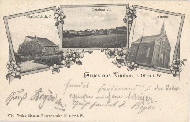 Eine Postkarte mit der  früheren Kirche