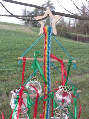 N°5 Pêle-mêle/calendrier de l'Avent tissé avec barres, boîtes, boules et chiffres - Le Chaton et sa Poulette