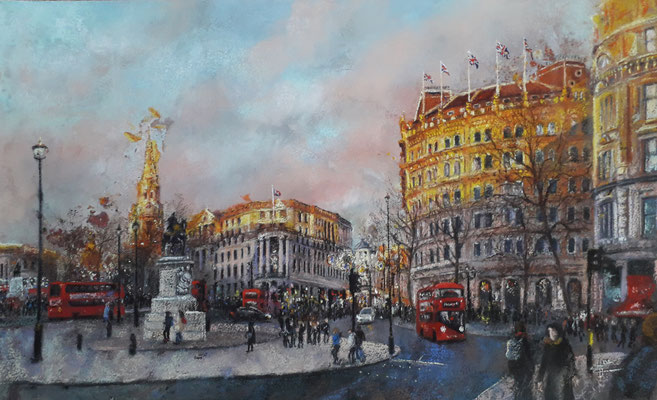 Sunset on Trafalgar Place, 70 x 50 cm,  pastels secs sur papier aquarelle 1800 €