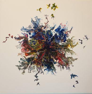 abstrakt Acrylic Pouring - 80x80 cm