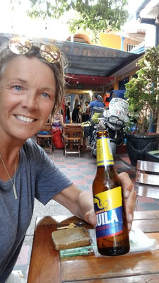 fresh off the boat in Cartegena Colombia, got to park my bike in the bar
