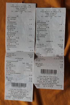 Befestigungsmaterial für Futterplatz. Kosten: 44,07€
