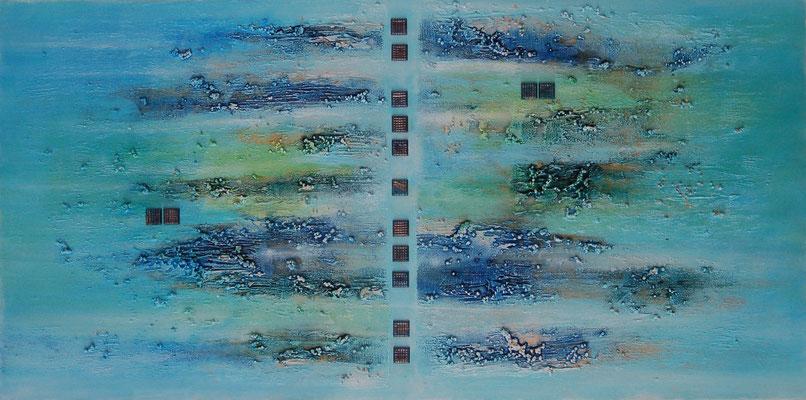 """ Mosaik "" Acryl auf Leinwand 50 x 100 cm, gespachtelt, Murano Glas Mosaik"