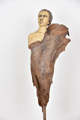 Engel, Keramik-Holz, ca. 60 cm