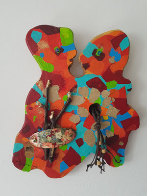 Together 25x31x2cm, Mix auf Holz, 2020