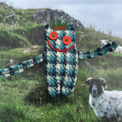 Umarmemonster blau-kariert von A sheep called Harris