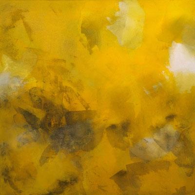 Osterglockenrauschen - Schichtenmalerei, 2021, 60 x60 cm