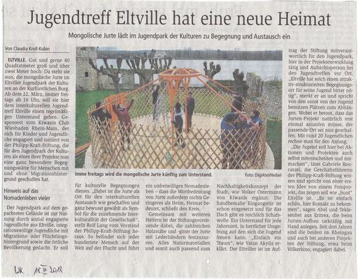 18. März 2019, Wiesbadener Kurier - Jugendpark der Kulturen: Aufbau der Jurte