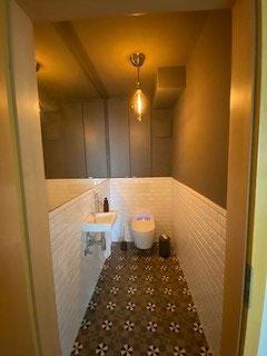 Toilettensanierung  Renovierung Sanitär Duschklo , Waschbecken , Armaturen und Trockenbau glattgespachtelte Wände und Maler mit Caparol Icons gestrichen und Fliesenleger