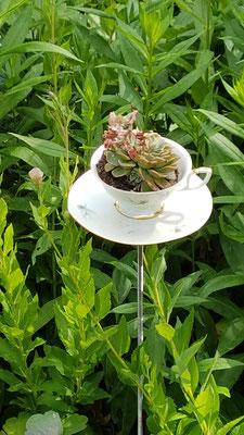 Im Blumen- oder Pflanzenbeet macht sich diese Tasse mit Untertasse sehr gut! Ein Metallstab trägt die geschmückte Tasse mit Untertasse (verschraubt).