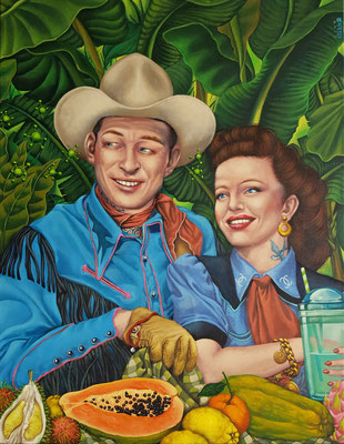 Gemälde 611,Papaya Cowboy, Acryl auf Leinwand, 2019,70 x 90 cm