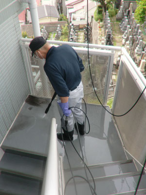 高圧洗浄機 定期床面清掃@菱和パレス高輪TOWER