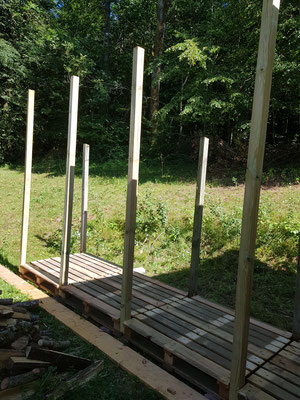 Mit alten Paletten bauen wir den Unterstand für unser Brennholz