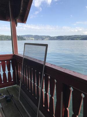 Insektenschutz-Spannrahmen zu Bootshaus, Kastanienbau LU