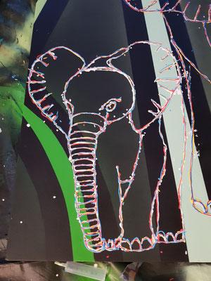 """Künstler Martin Lingens, Entstehung von """"Dark Elephants"""""""