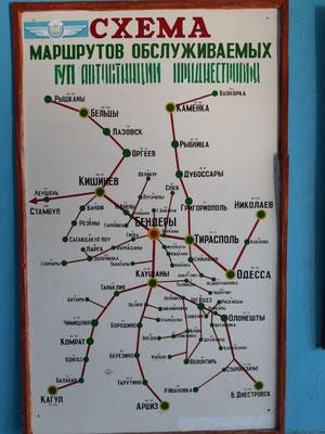 Alter Streckenplan im Busbahnhof Bender