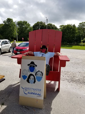 Big chair for the AD in Meaford at Noon Pop-Up.  Photo by Colleen Purdon.