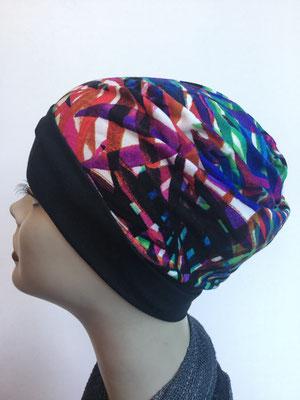 So 61 - Kopfbedeckung nach Chemo - Beanie  Schlumpfmütze einfach- multicolor abstrakt