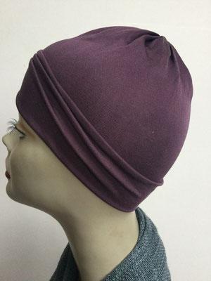 G78 - Kopfbedeckungen kaufen - Seidenjersey-Chäppli fest - für Sie und Ihn - aubergine