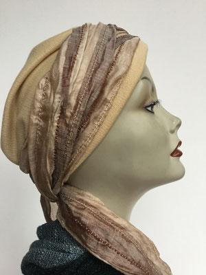 Wi 29 - Turban Nizza mit Schlaufe - Beigetöne - Kopfbedeckungen nach Chemo