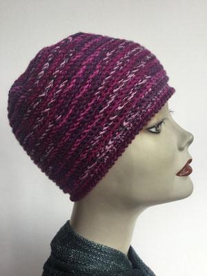 Wi 87 - Kopfbedeckung kaufen - Wintermodelle - Melone gehäkelt fuchsia rosé