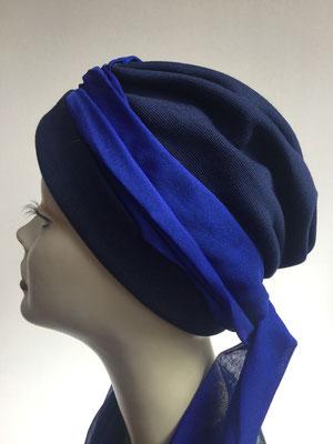 Wi 22 - Turban Nizza mit Schlaufe - Blautöne - Kopfbedeckungen nach Chemo