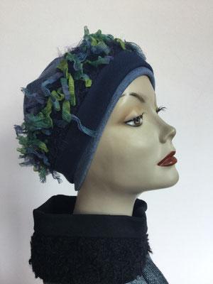 Wi 119d - Stirnband mit doppelter Baumwolle (Krempe) - blaugrün