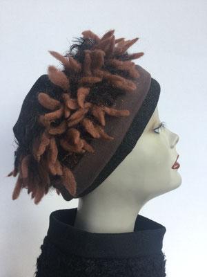 Wi 113 - Stirnband mit doppelter Baumwolle (Krempe) - rehbraun zottelig