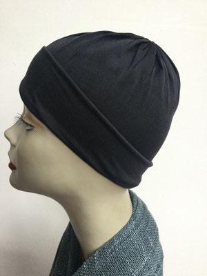G79n - Kopfbedeckungen kaufen - Seidenjersey-Chäppli fest - für Sie und Ihn - anthrazit