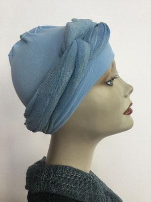 G39f - Kopfbedeckungen kaufen - Baumwollschlauch (Jersey) und Chäppli - helles Blau