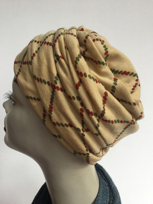 Wi 18 - Beanie genäht - Neapelgelb gemustert - Kopfbedeckung kaufen