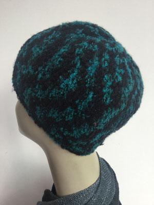 Wi 89b - Kopfbedeckung kaufen - Wintermodelle - Melone gehäkelt - schwarztürkis