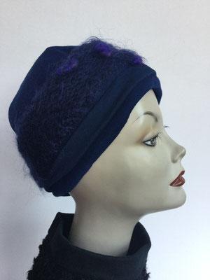 Wi 119k - Stirnband mit doppelter Baumwolle (Krempe) - dunkelblau violett