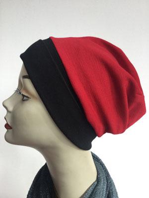 Wi 12 - Beanie genäht - rotschwarz  - Kopfbedeckung kaufen