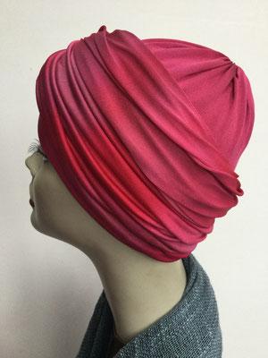 G 89p - Kopfbedeckungen kaufen - Seidenjersey-Foulard und Chäppli - elegant und klassisch - Rottöne