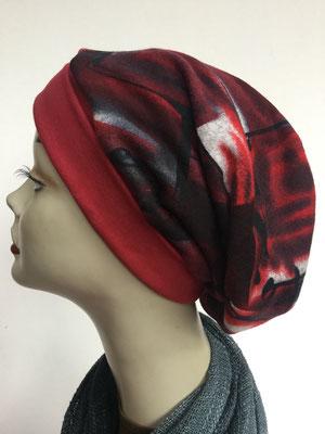Wi 19g - Beanie genäht - rot mit Muster rot schwarz - Kopfbedeckung kaufen