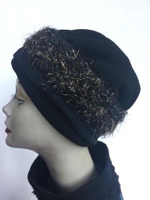 Wi 119b - Stirnband mit doppelter Baumwolle (Krempe) - schwarz mit Silbereffekten