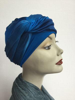 G 89n - Kopfbedeckungen kaufen - Seidenjersey-Foulard und Chäppli - elegant und klassisch - Blautöne