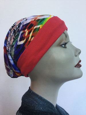 So 69a - Beanie  Schlumpfmütze einfach - multicolor mit rotem Bord