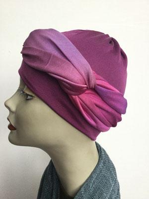 G 82 - Kopfbedeckungen kaufen - Seidenjersey-Foulard und Chäppli - elegant und klassisch - lila pink violett