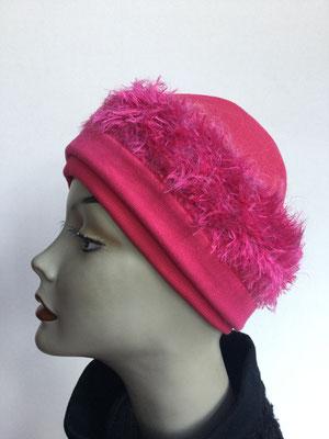 Wi 119f - Stirnband mit doppelter Baumwolle (Krempe) - pink kuschelig