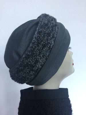 Wi 114 - Stirnband mit doppelter Baumwolle (Krempe) - dunkelgrau persianisch