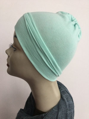 G19n - Kopfbedeckungen nach Chemo - Baumwollchäppli fein - lindengrün