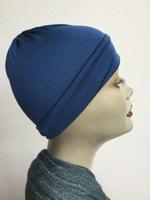 G79 - Kopfbedeckung kaufen - Seidenjersey-Chäppli fest - für Sie und Ihn - kobaltblau