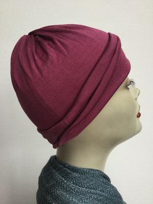G74 - Kopfbedeckungen kaufen - Seidenjersey-Chäppli fest - für Sie und Ihn - weinrot
