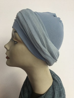 G37 - Kopfbedeckungen kaufen - Baumwollschlauch (Jersey) und Chäppli - graublau